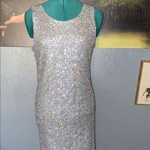 Candies Stardust Silver Sequin Dress